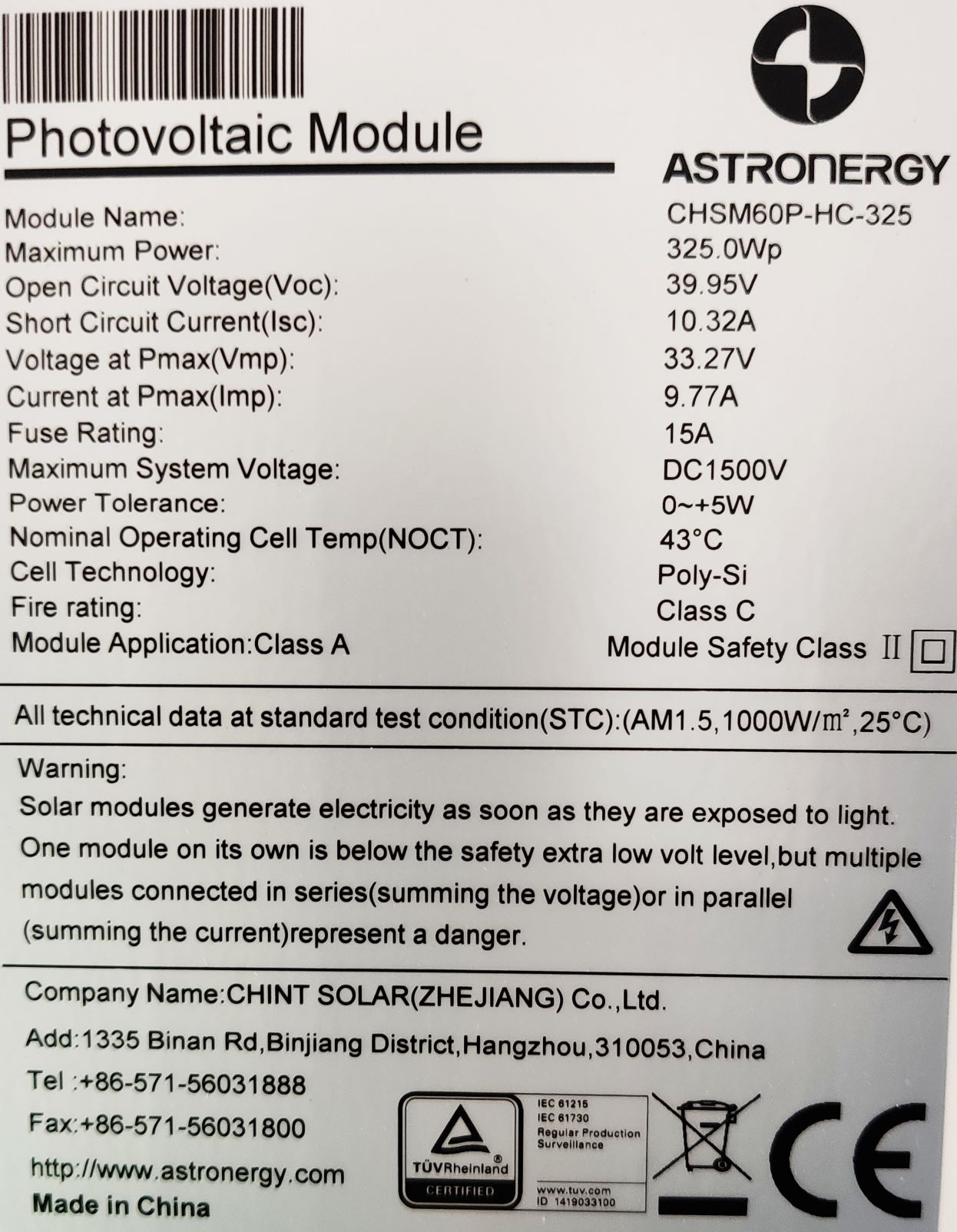 AstroSemi 325W label rating plate