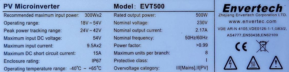 EVT500 rating plate